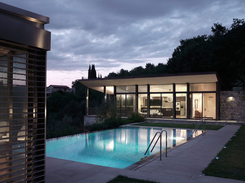 Pool, Lighting, Evening, Modern Home in Prato, Italy