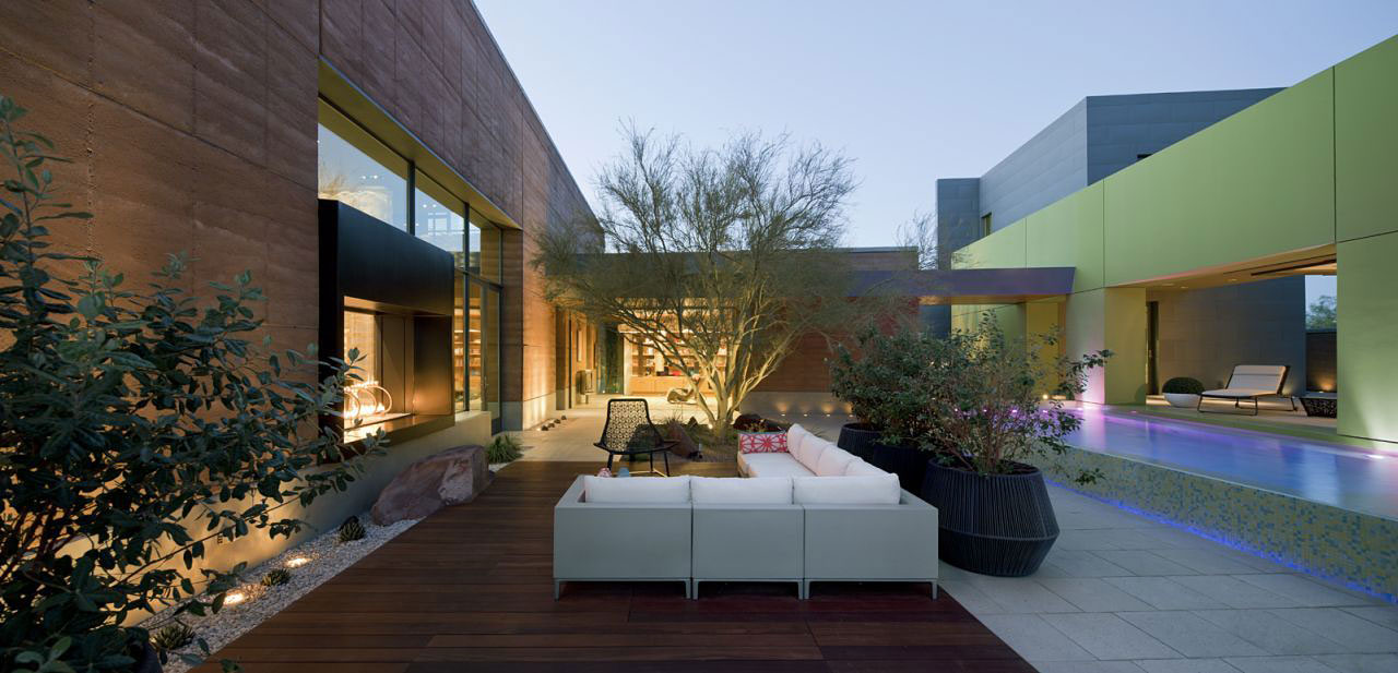 Pool Lighting, Terrace, Sofa, Massive Modern Home in Las Vegas