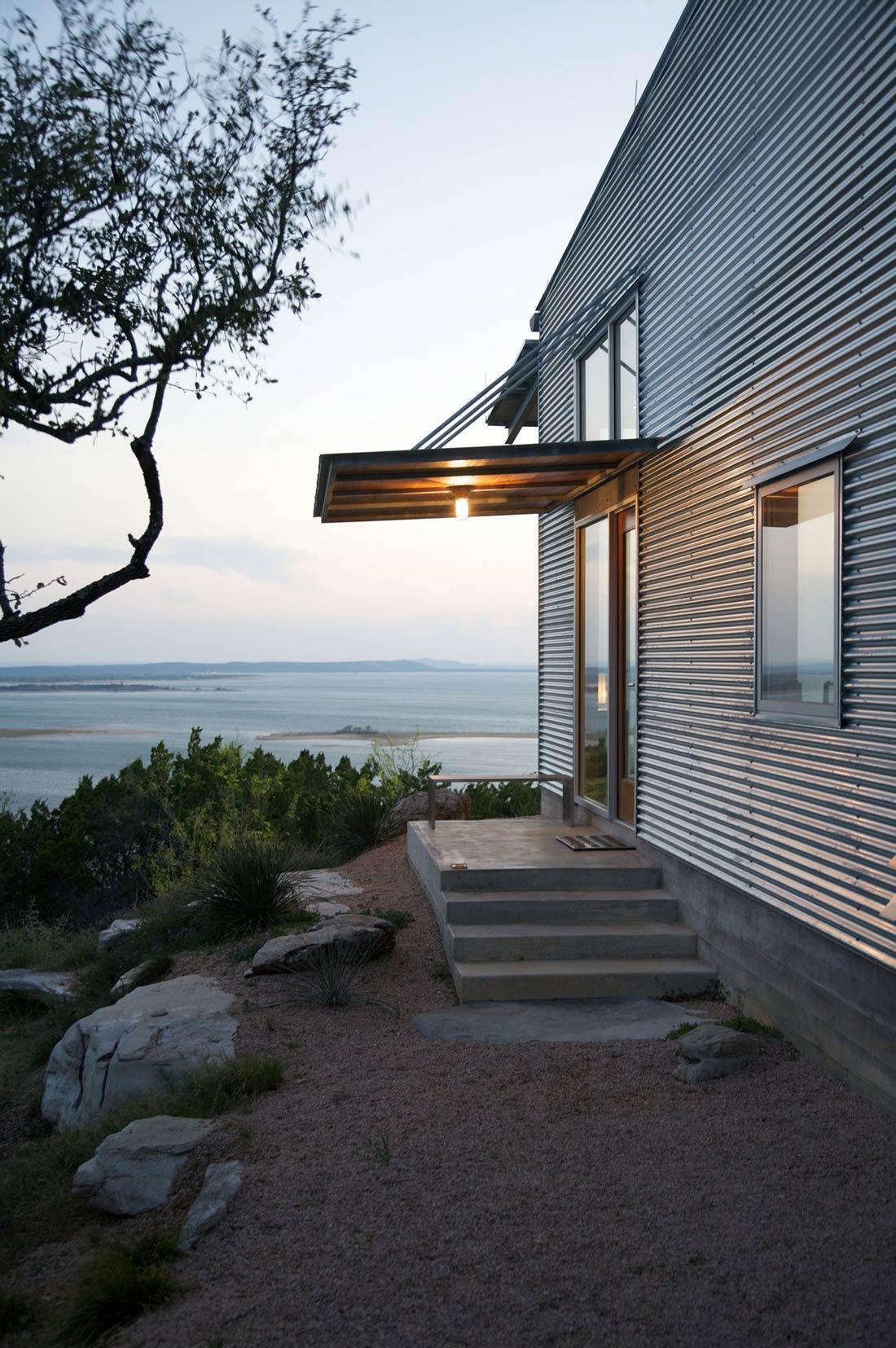 Porch Light, Entrance, Lake Views, Simple Eco-Friendly Home Perched Above Lake Buchanan, Texas