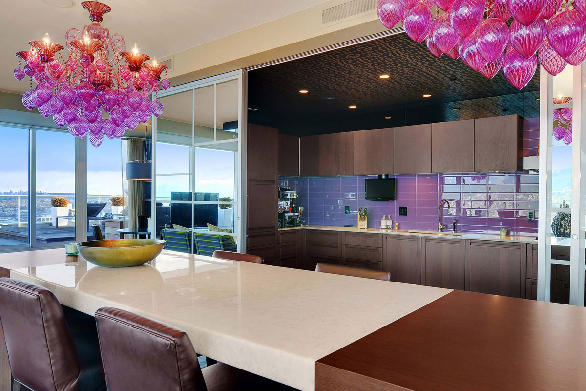 Purple & Pink Chandelier, Dining Table, Kitchen, Beautiful Apartment with Amazing Views in Vancouver, Canada