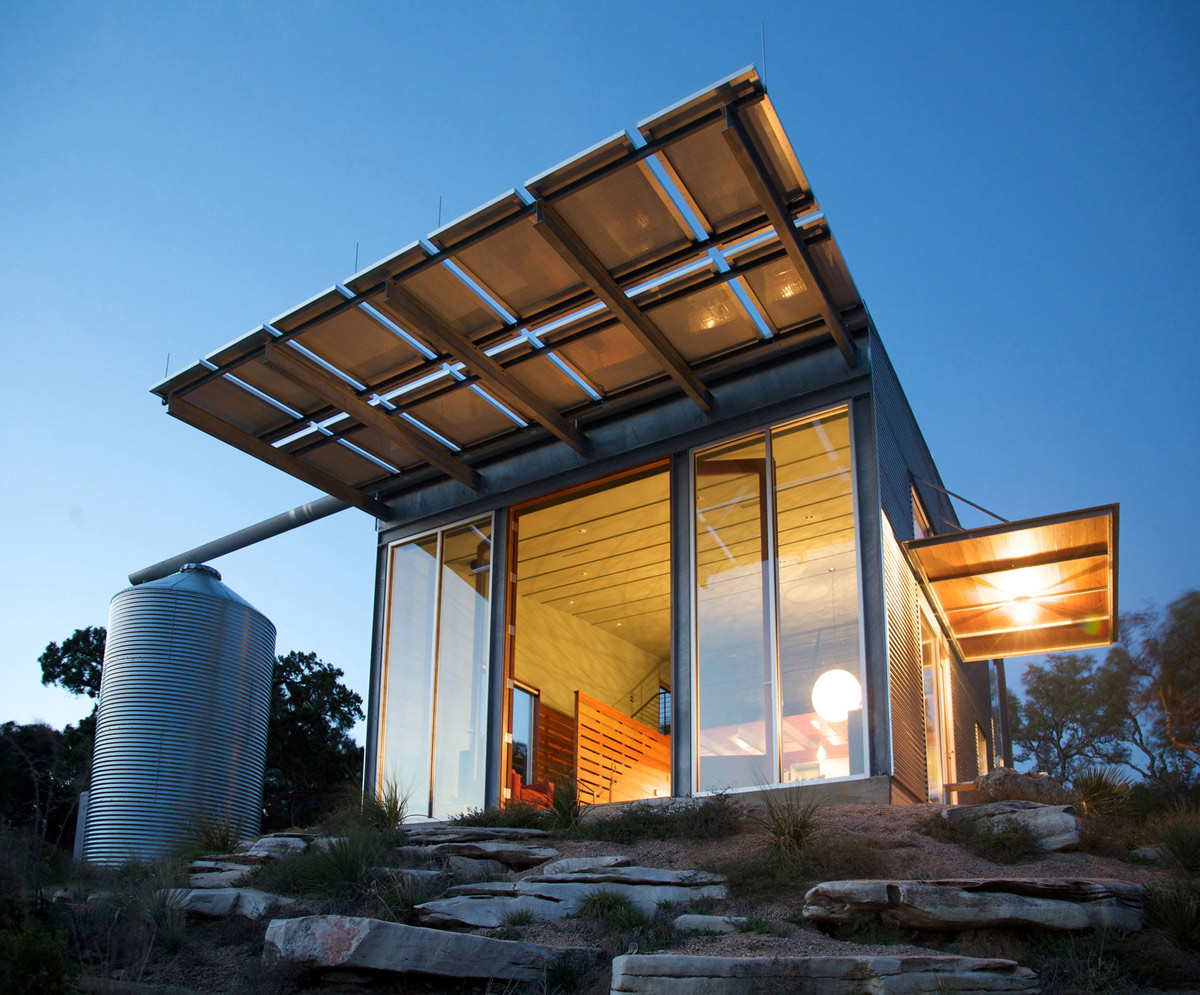 Rain Water Storage Tank, Simple Eco-Friendly Home Perched Above Lake Buchanan, Texas