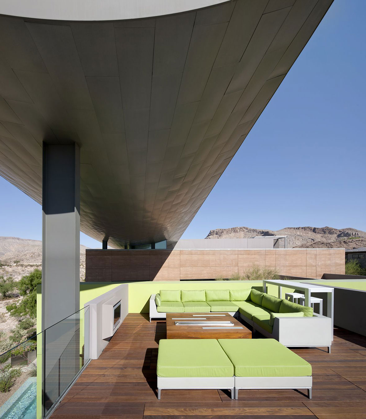 Roof Terrace, Green Furniture, Massive Modern Home in Las Vegas