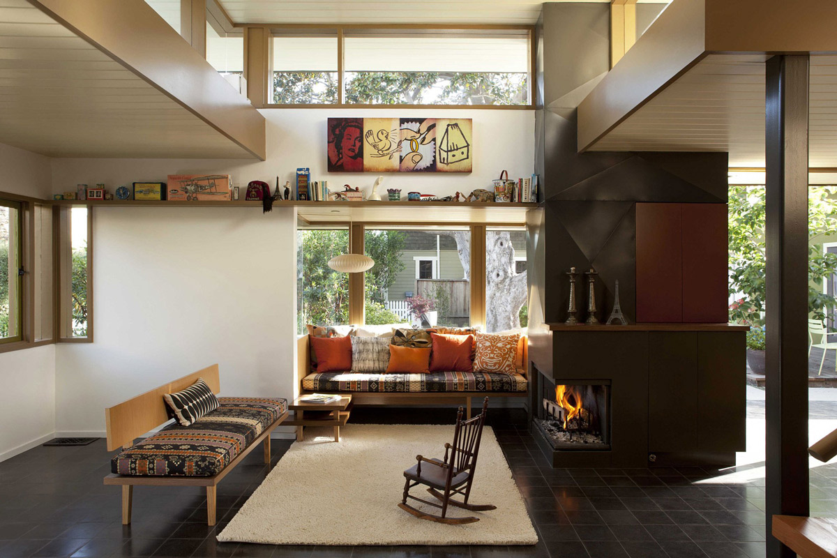 Rug, Art, Contemporary Fireplace, Wonderful Renovation and Addition in Venice, California