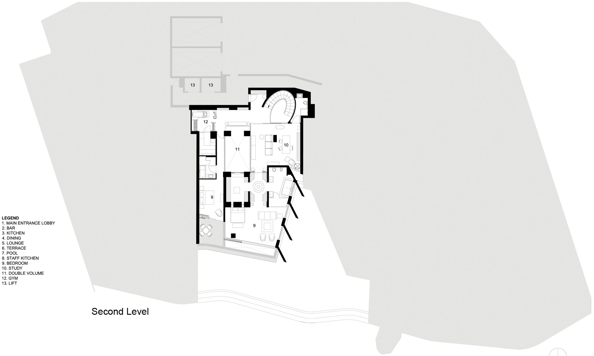 Second Floor Plan, Seaside Home in Clifton Beach, Cape Town