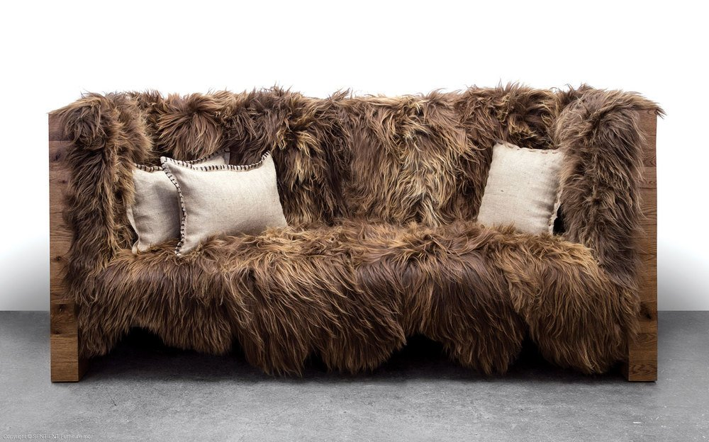 Sheepskin Wool Sofa by Sentient Furniture