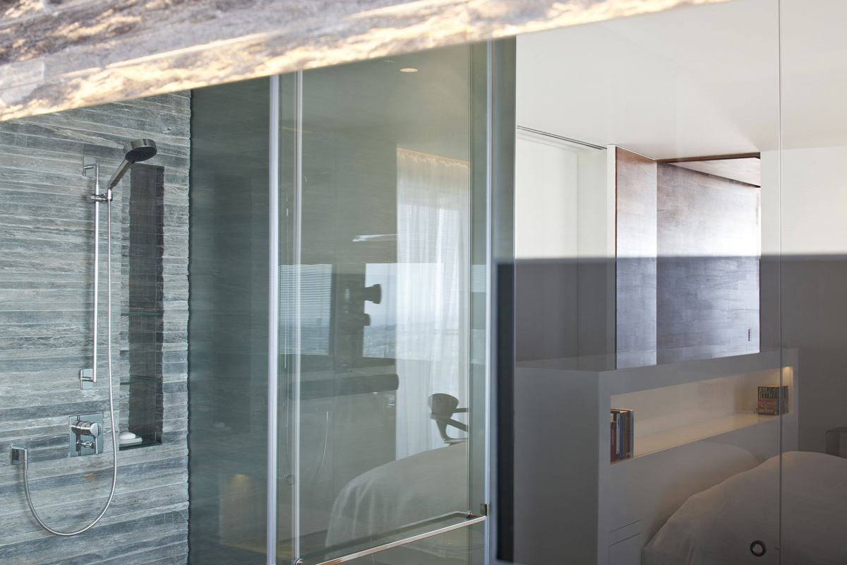 Shower Room, Glass Wall, Bedroom, Elegant Apartment with Reflective Ceiling in Tel Aviv, Israel