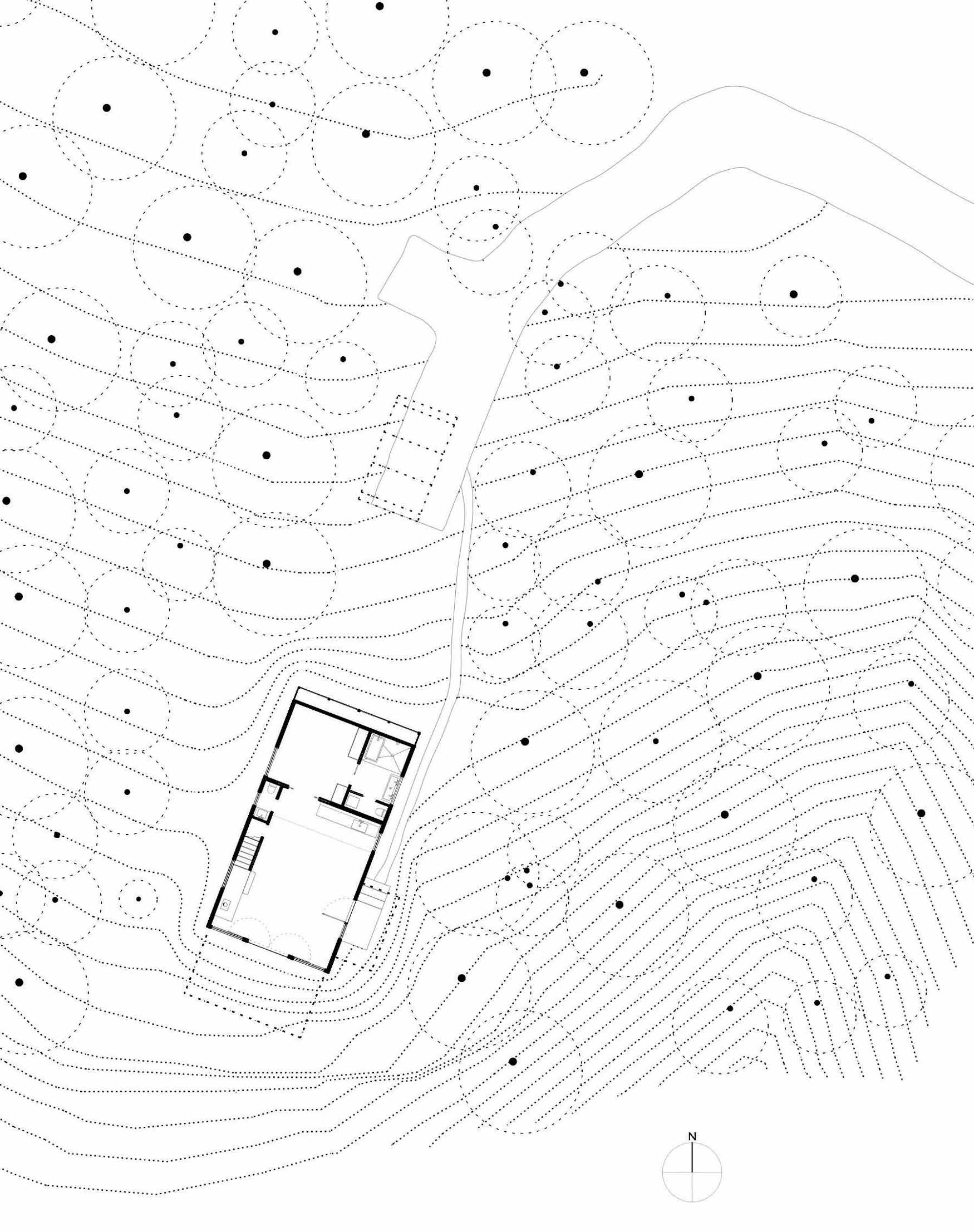 Site Plan, Simple Eco-Friendly Home Perched Above Lake Buchanan, Texas