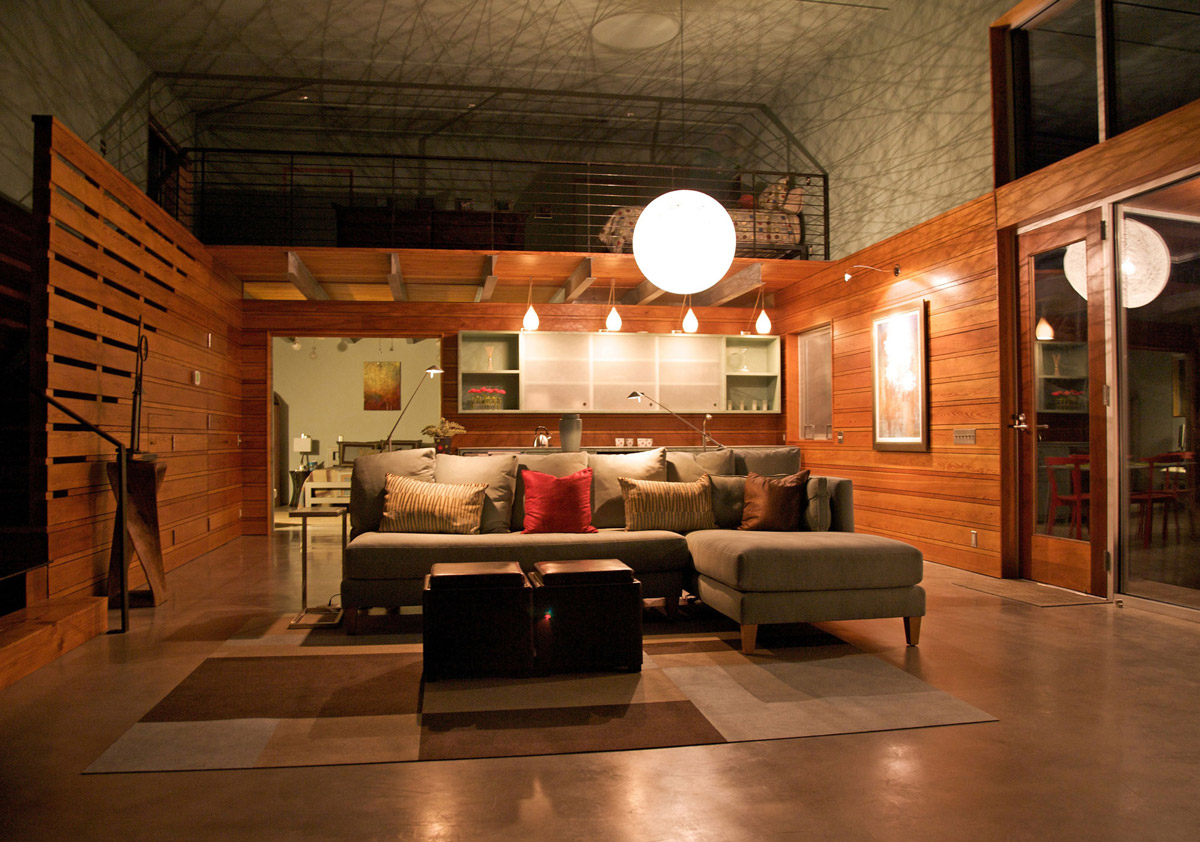 Sofa, Rug, Lighting, Simple Eco-Friendly Home Perched Above Lake Buchanan, Texas