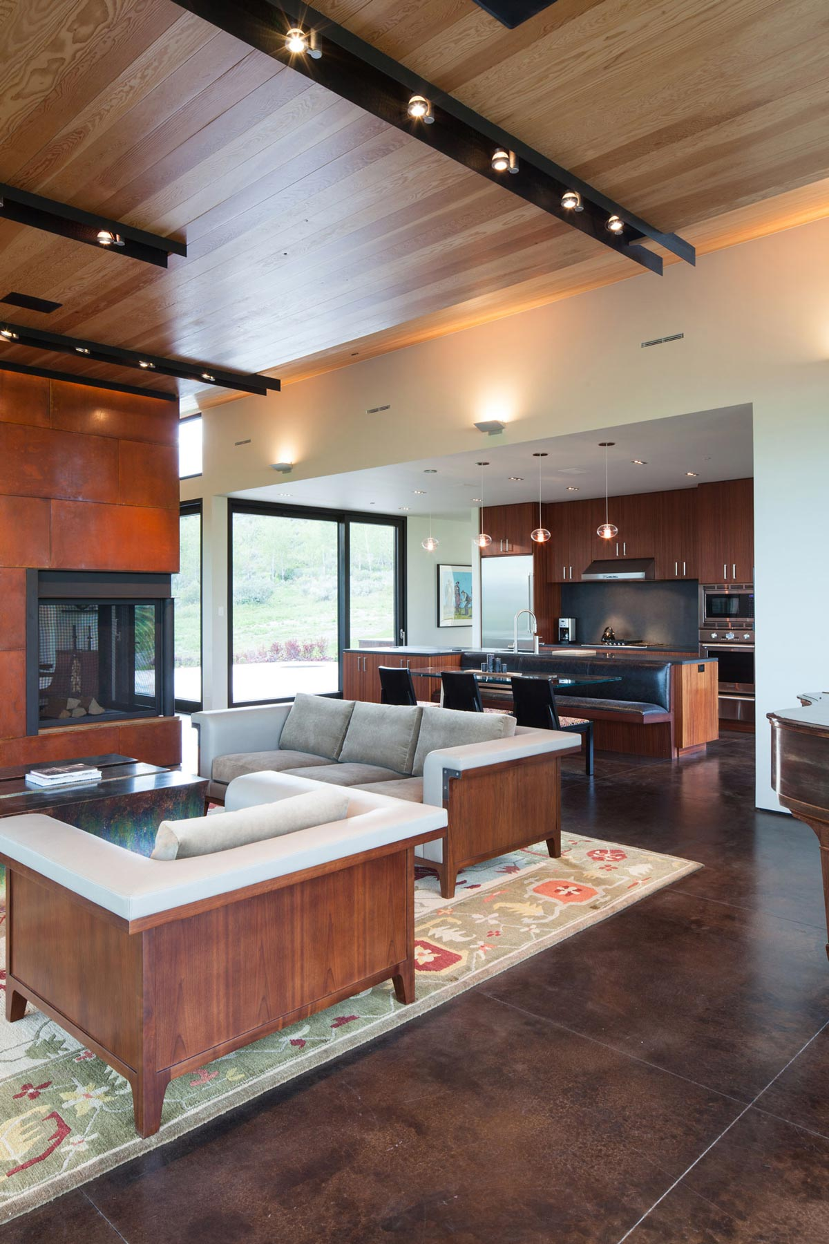 Sofas, Fireplace, Living Space, Breakfast Table, Hillside House in Jackson, Wyoming