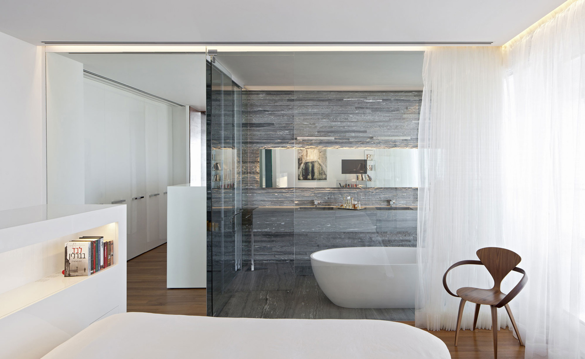 Stone Tiles, Glass Wall, Bathroom, Bedroom, Elegant Apartment with  Reflective Ceiling in Tel Aviv, Israel