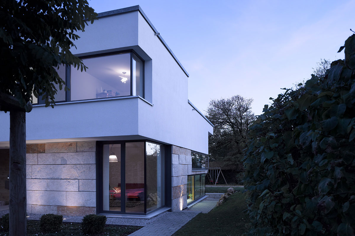 Stone Tiles, Contemporary Split Level Home in Aalen, Germany