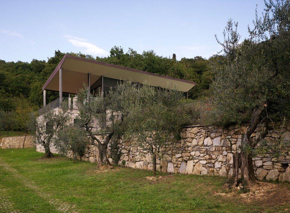 Stone Wall, Garden, Modern Home in Prato, Italy
