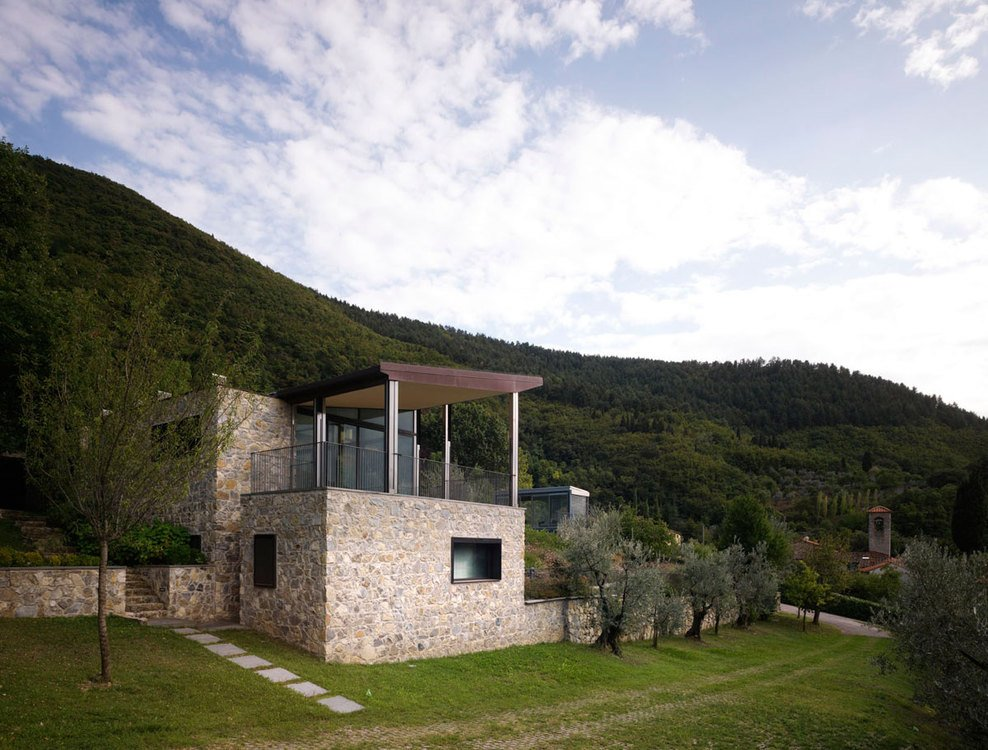 Stone Walls, Balcony, Lawn, Modern Home in Prato, Italy