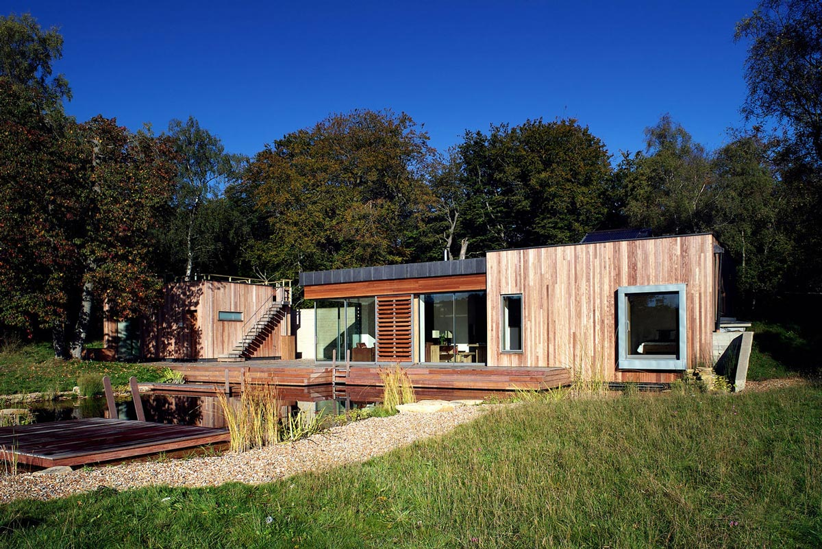 Swimming Pond, Terrace, Contemporary Home in the New Forest National Park, England