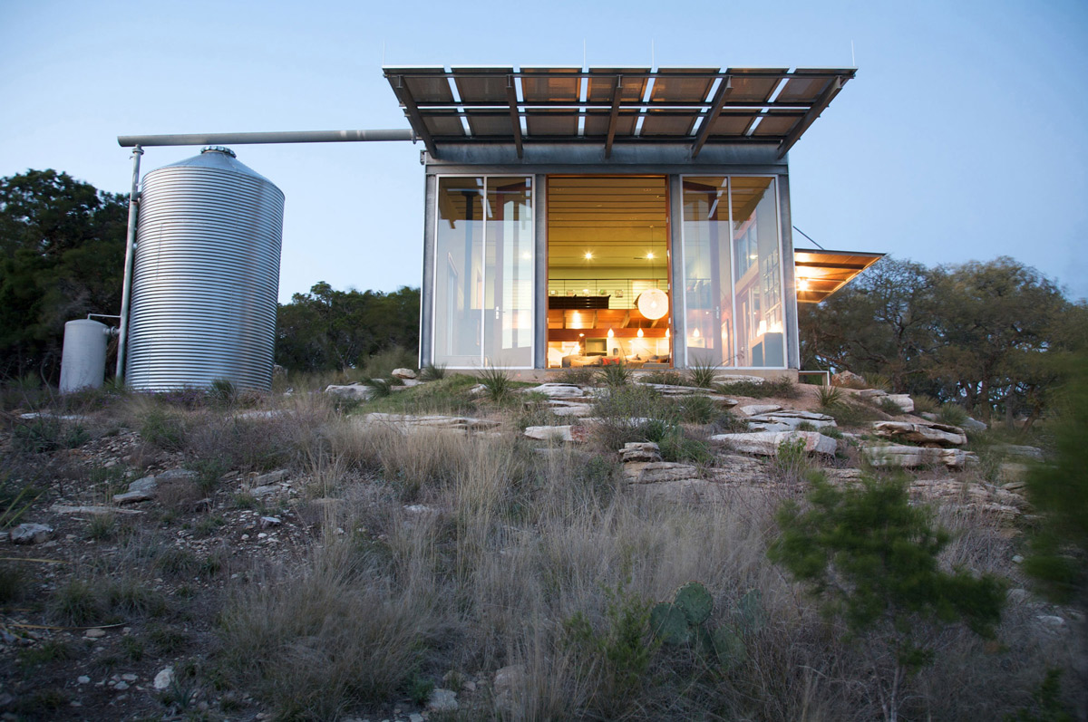 Water Tank, Lighting, Simple Eco-Friendly Home Perched Above Lake Buchanan, Texas