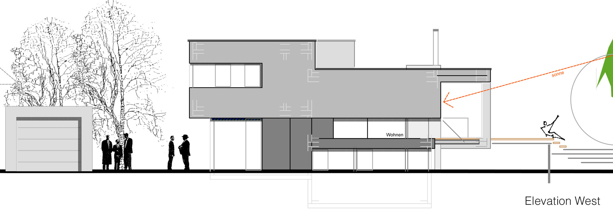 West Elevation, Home Split Level Home in Aalen, Germany
