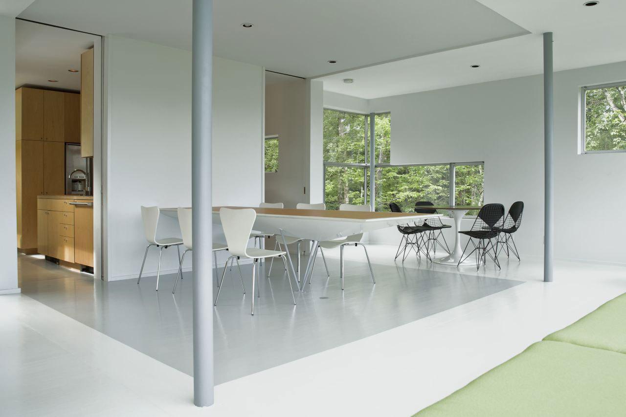 White Dining Area, Unique Treetop Home in Upstate New York