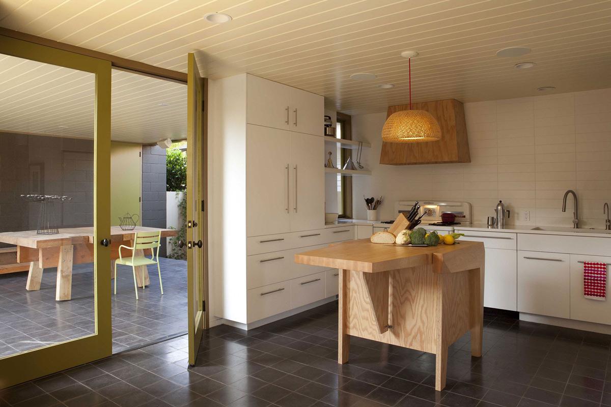 White Kitchen, Dark Tiled Floor, Wooden Island, Wonderful Renovation and Addition in Venice, California