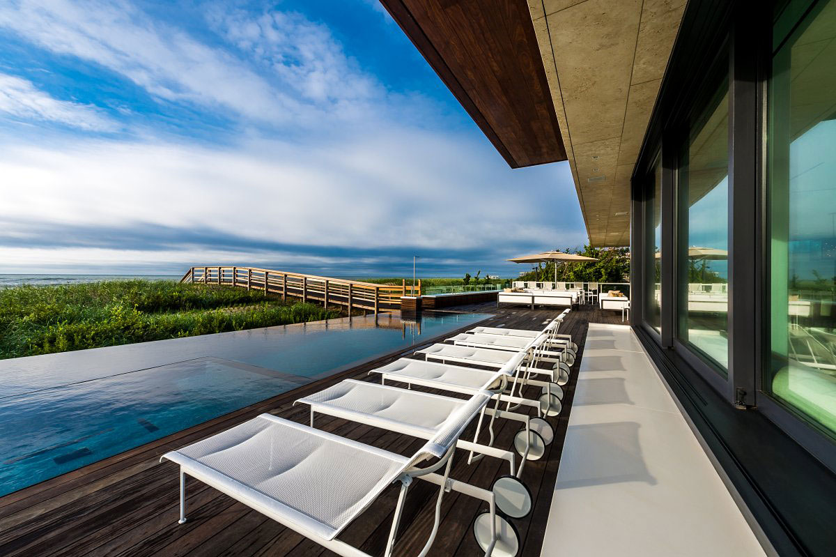 Wooden Deck, Infinity Pool, Sea Views, Oceanfront Home in Sagaponack, New York
