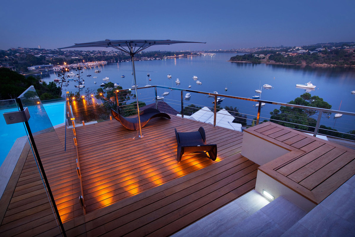 Wooden Deck, Lighting, Amazing Views, Stunning Riverside Home in Perth, Australia