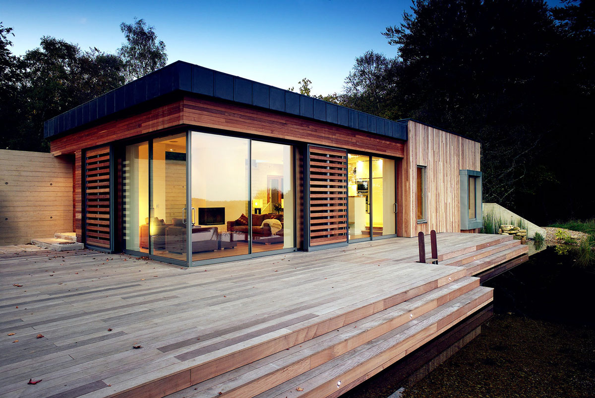 Wooden Terrace, Glass Walls, Patio Doors, Contemporary Home in the New Forest National Park, England
