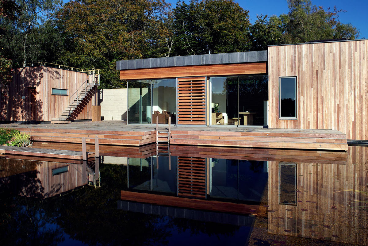 Wooden Terrace, Natural Swimming Pond, Contemporary Home in the New Forest National Park, England