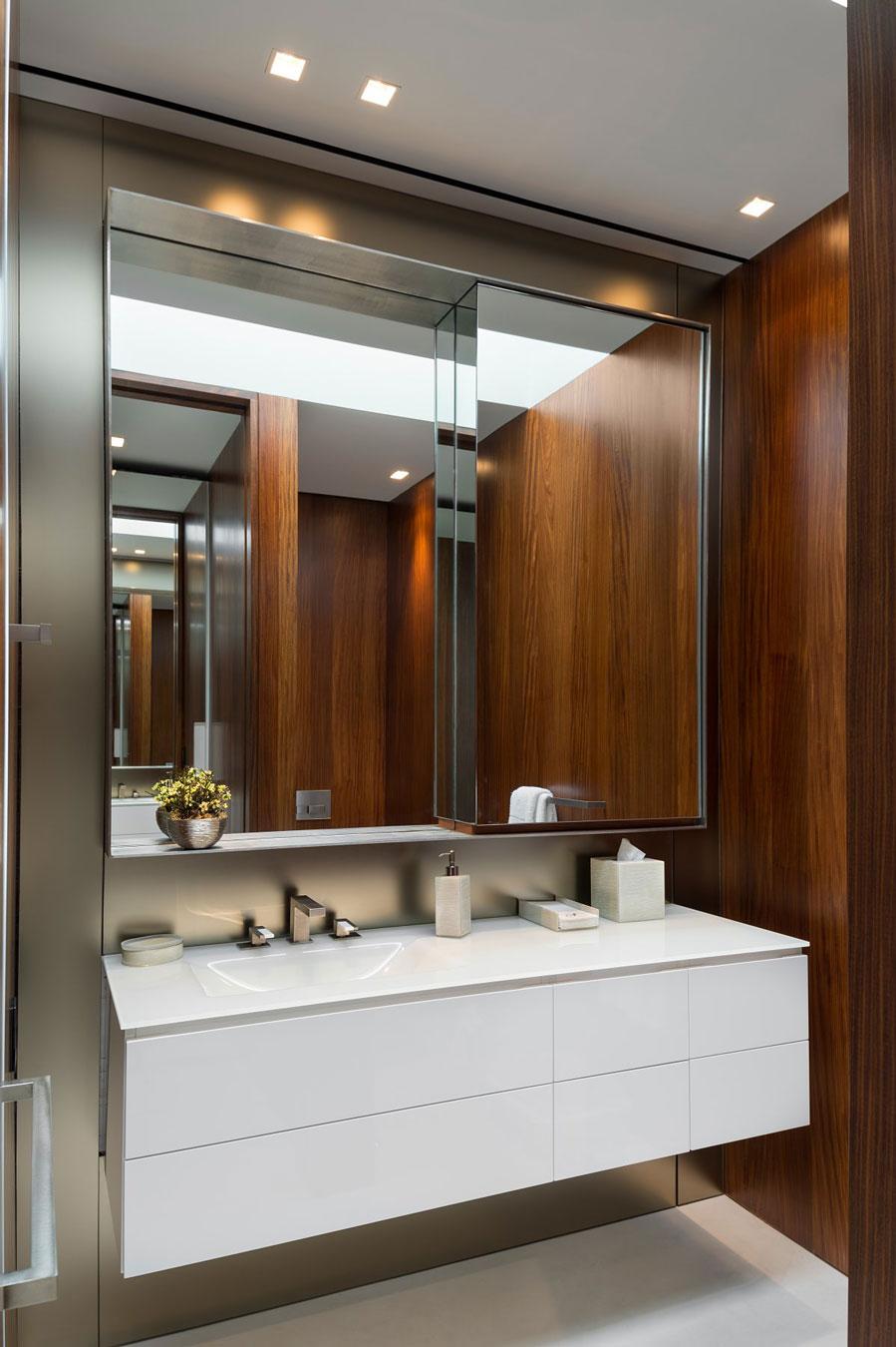 Wooden Walls, Bathroom, Oceanfront Home in Sagaponack, New York