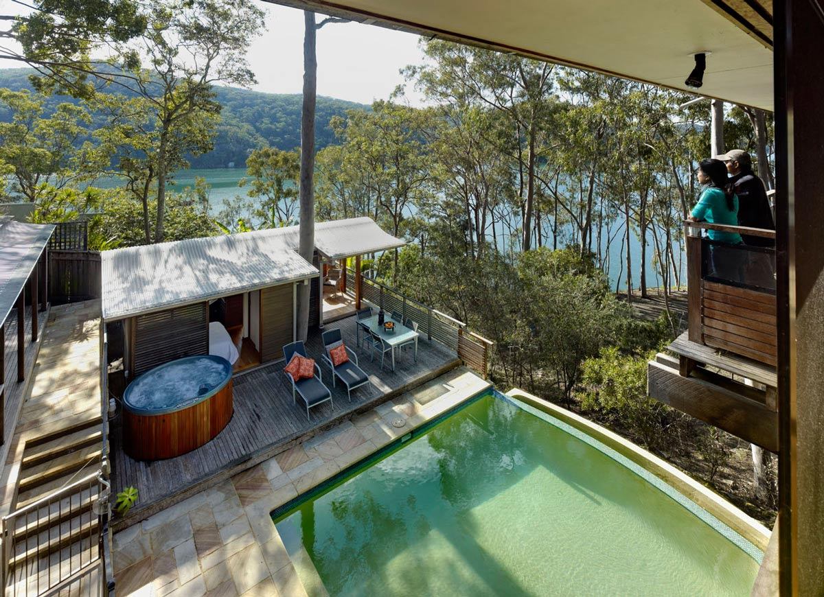 Balcony, Jacuzzi, Terrace, Pool, Treetops Holiday Home in Sydney, Australia
