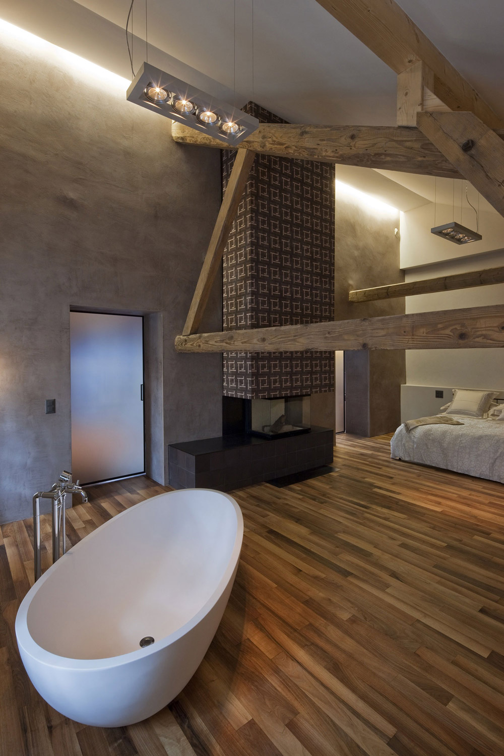 Bath in Bedroom, Modern Fireplace, Farmhouse Conversion in Genf, Switzerland