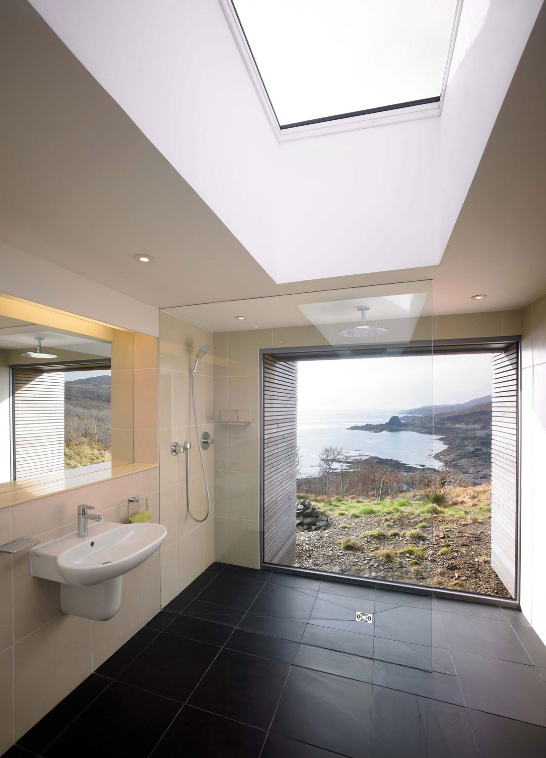 Bathroom, Glass Shower Screen, Contemporary Home on the Isle of Skye, Scotland