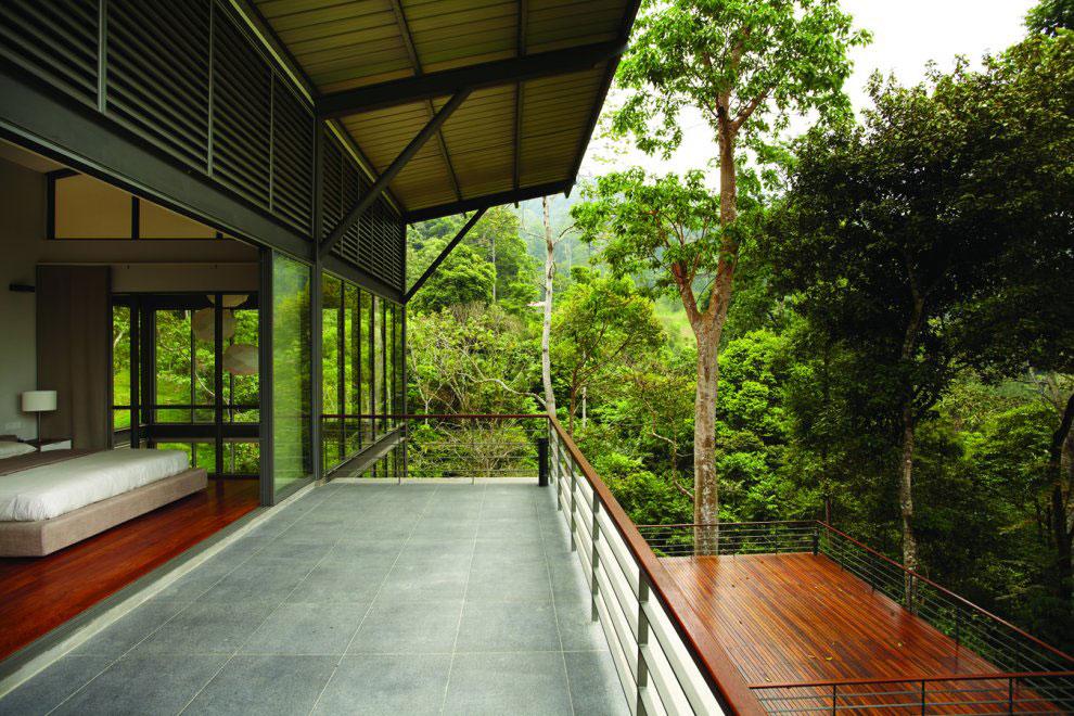 Bedroom, Balcony, Modern Hillside Home in Janda Baik, Malaysia