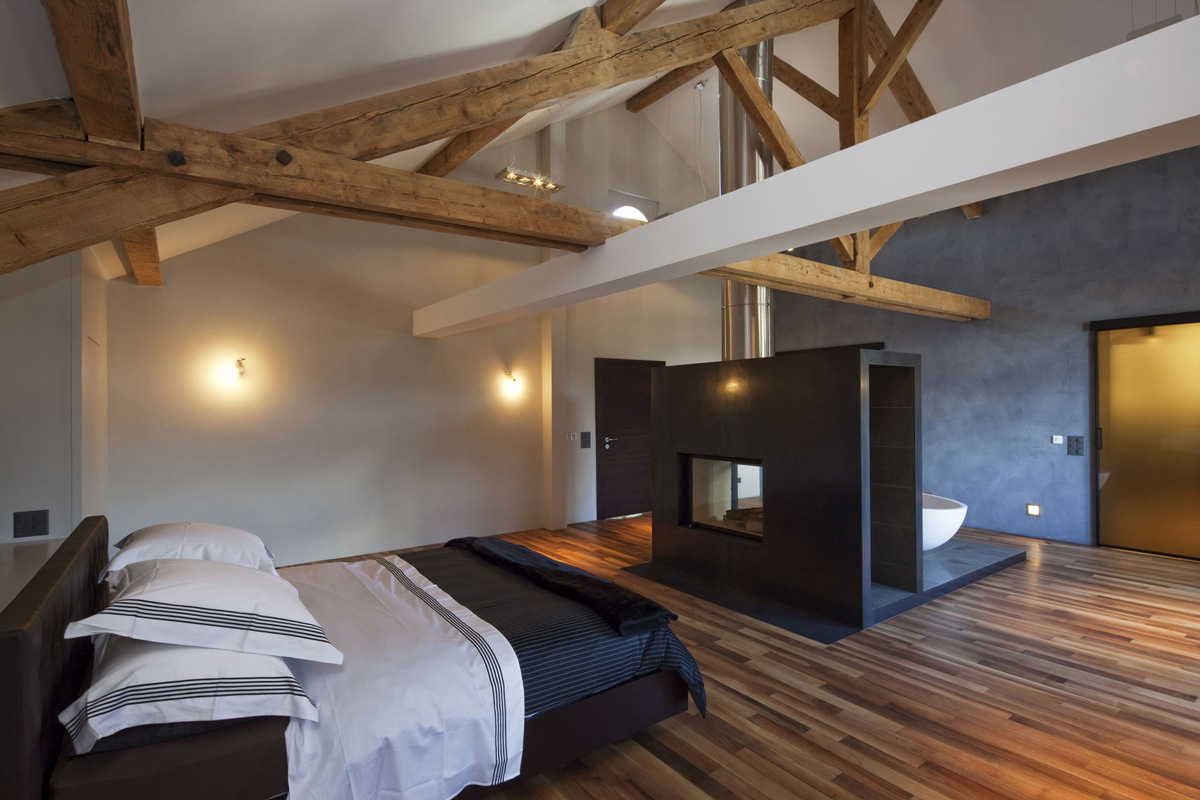 Bedroom, Bathroom, Contemporary Fireplace, Farmhouse Conversion in Genf, Switzerland