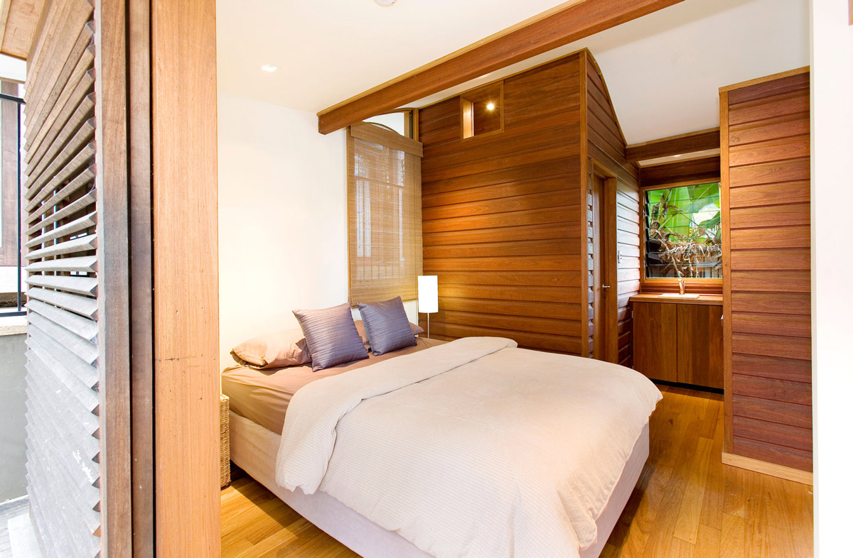 Bedroom, Wood Walls & Flooring, Treetops Holiday Home in Sydney, Australia
