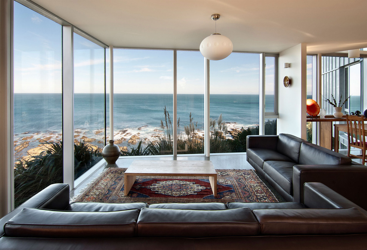 Brown Leather Sofa, Glass Walls, Ocean Views, Cliff-top Home with Spectacular Views in Wellington, New Zealand