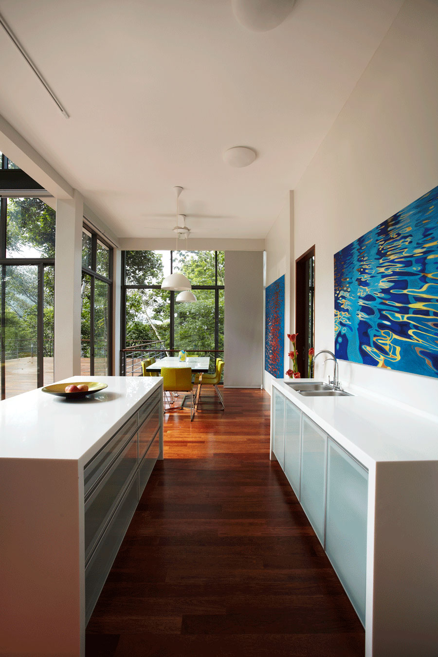 Dining Space, Compact Kitchen, Art, Modern Hillside Home in Janda Baik, Malaysia
