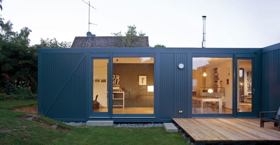 Deck, Large Windows, Container House in Kall, Germany