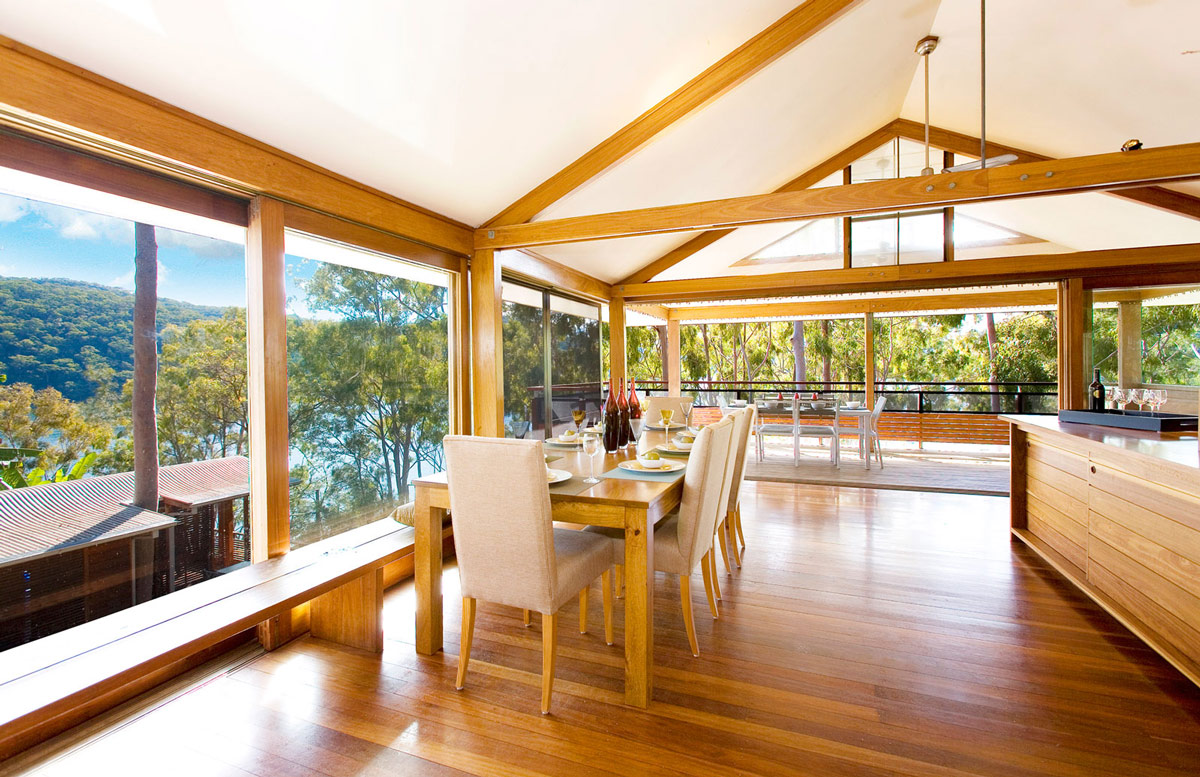 Dining Table, Glass Walls, Views, Treetops Holiday Home in Sydney, Australia