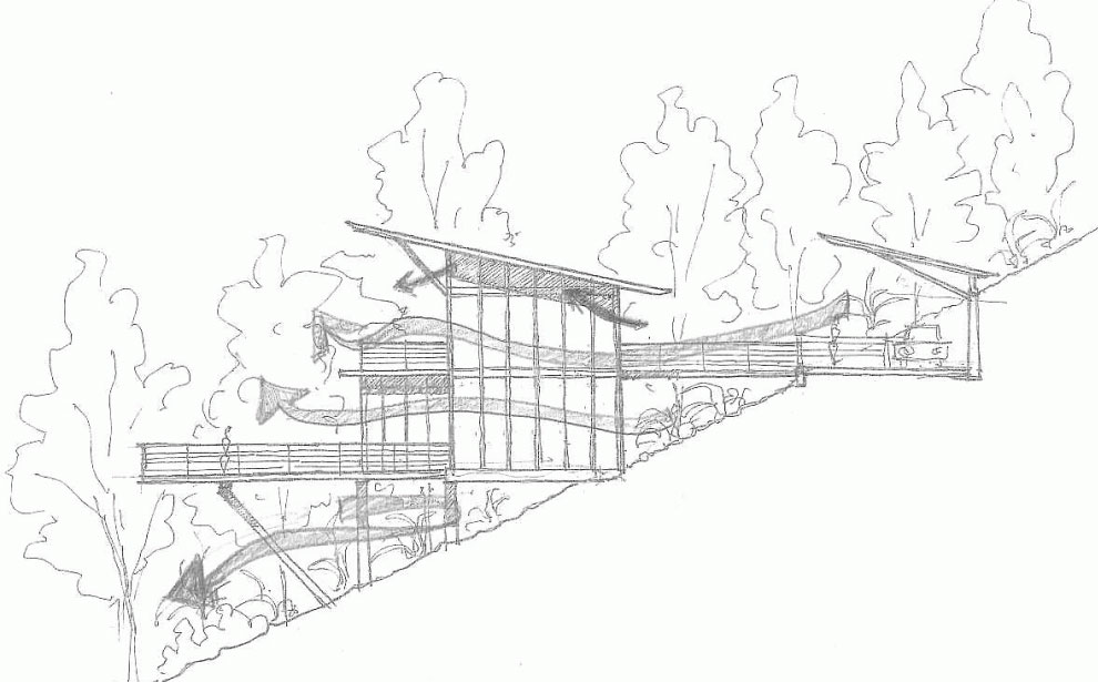 Drawing modern hillside home in janda baik malaysia Drawing modern houses