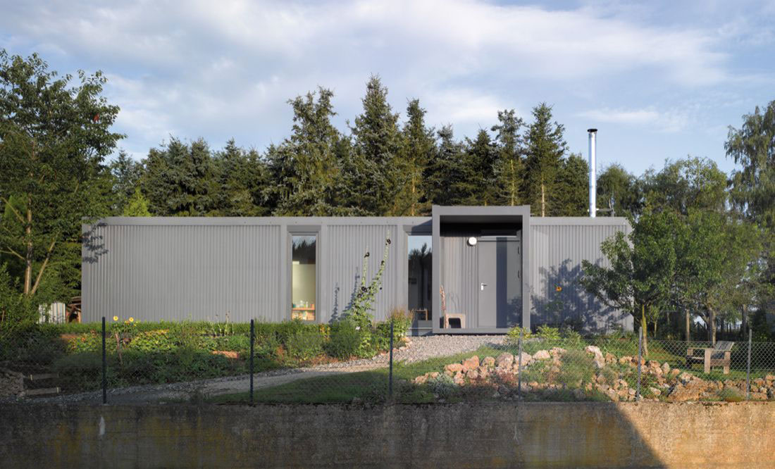 Entrance, Front View, Container House in Kall, Germany