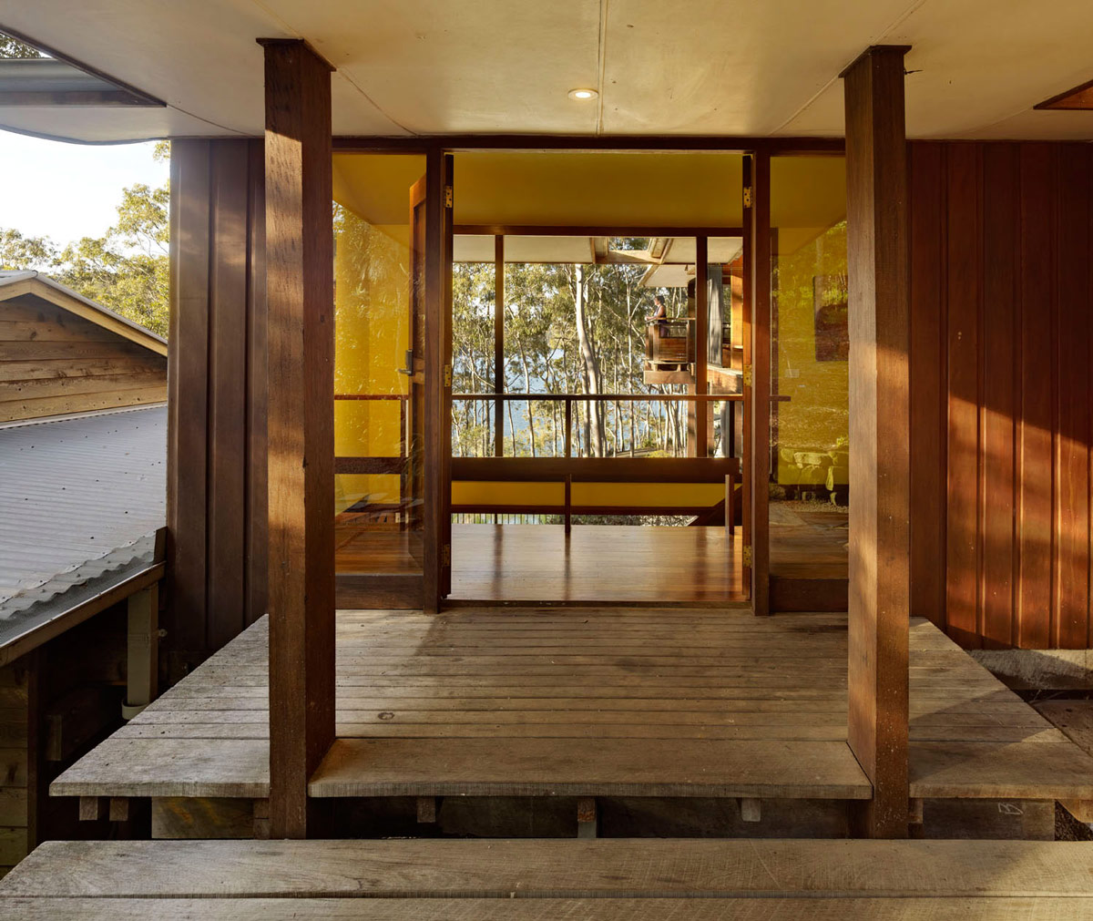 Wood & Glass Entrance, Treetops Holiday Home in Sydney, Australia