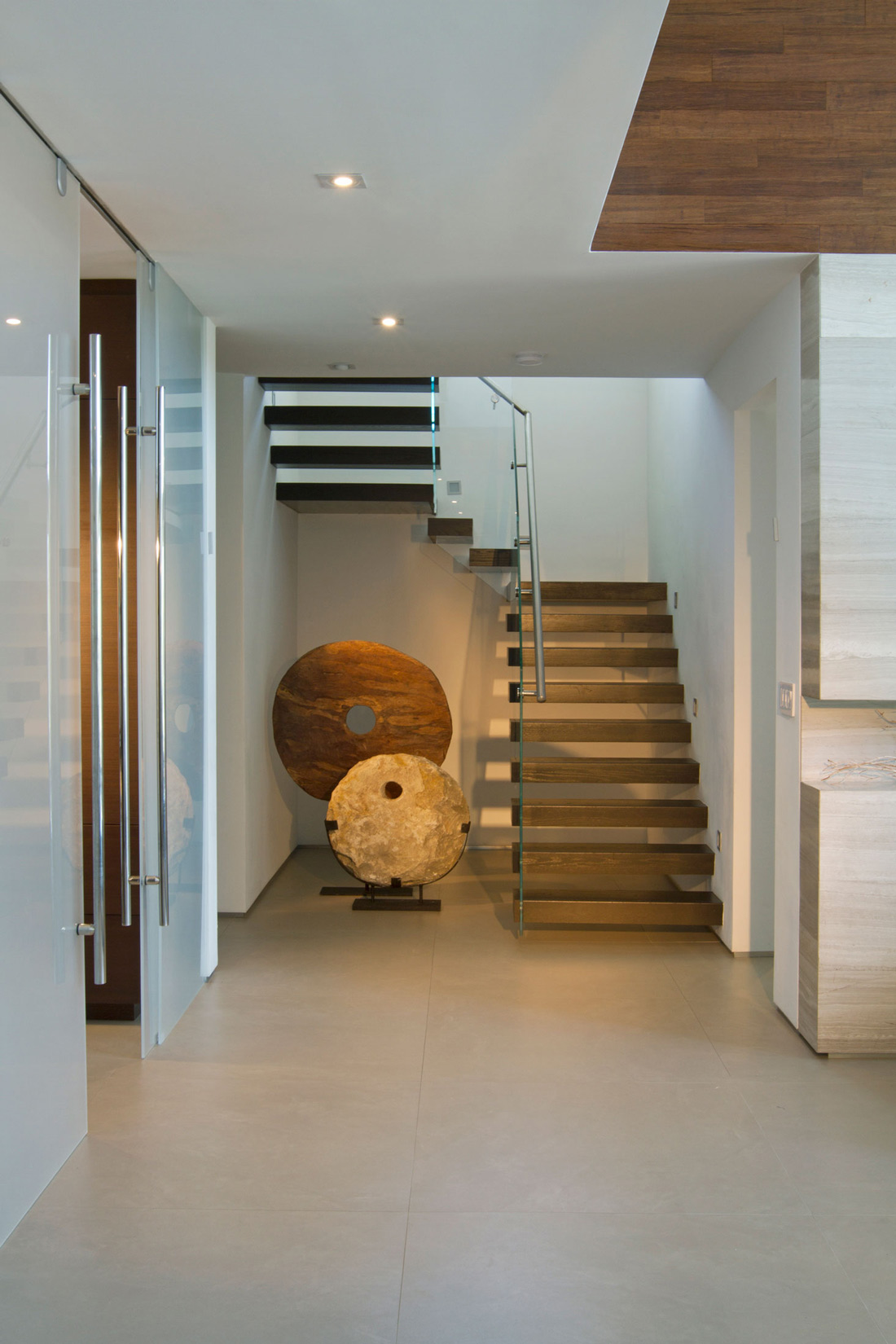 Entrance Hall, Art, Stairs, Stylish Interior Design in Miami, Florida