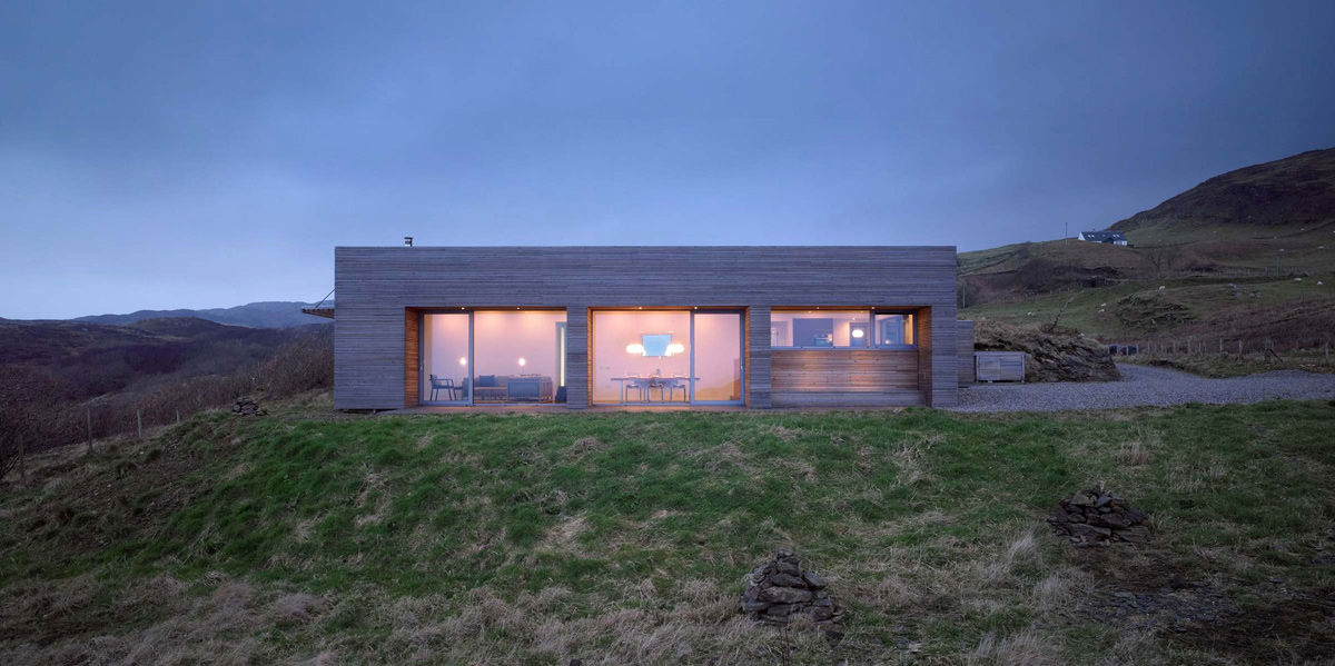 Evening Lighting, Contemporary Home on the Isle of Skye, Scotland