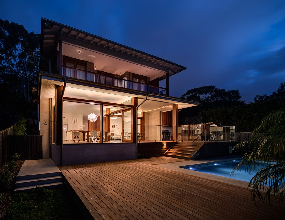 Evening, Lighting, Contemporary Home in Sydney Australia