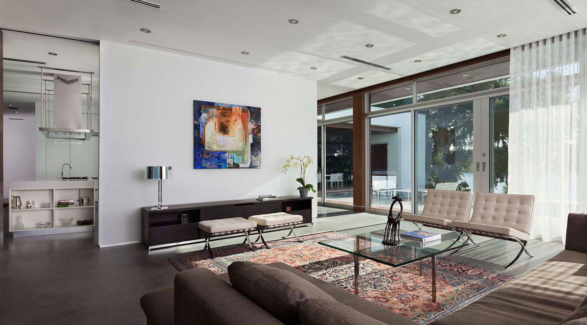 Glass Coffee Table, Living Room, Eco-Friendly Contemporary Home in Winter Haven, Florida