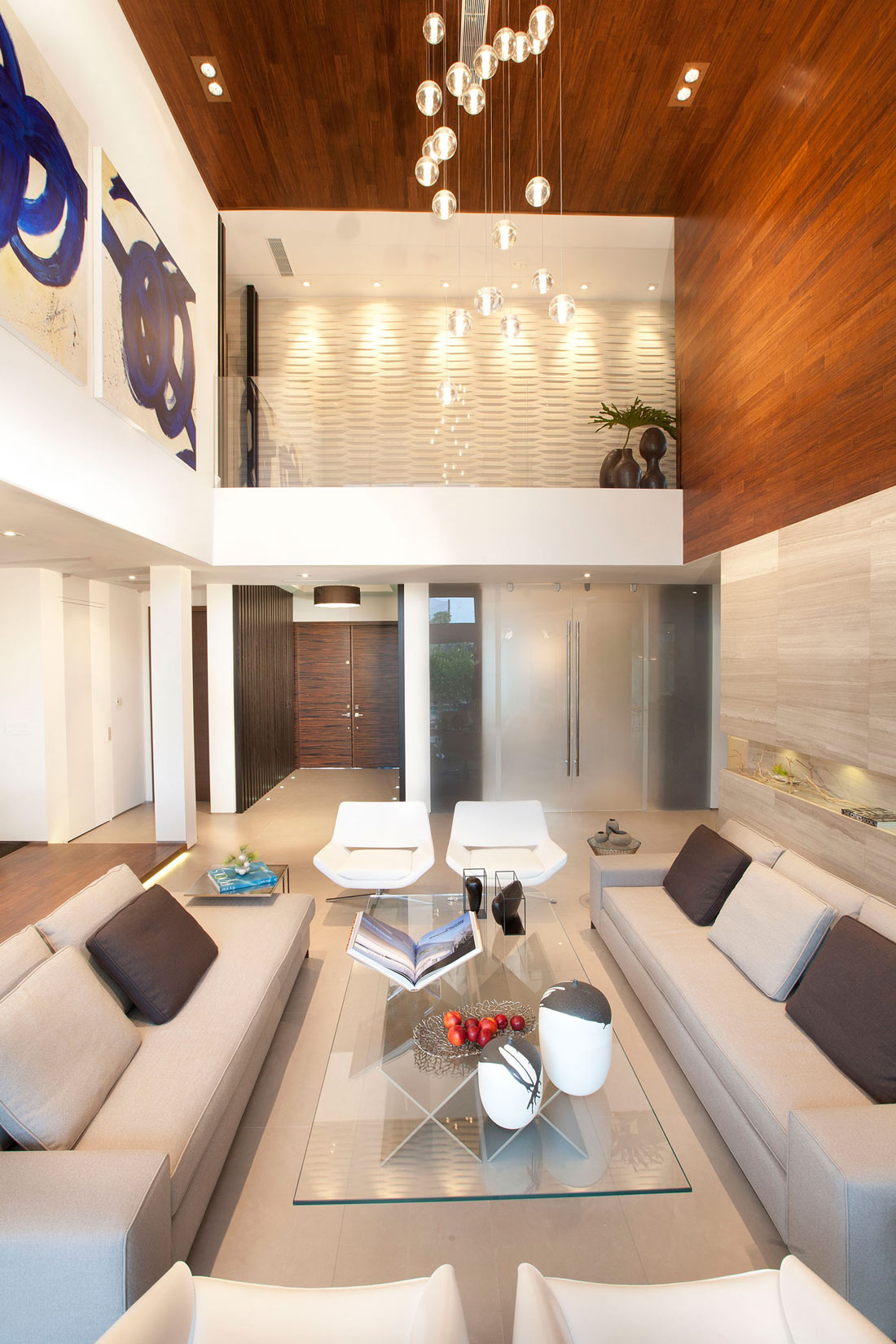 Living Room, Glass Coffee Table, Stylish Interior Design in Miami, Florida