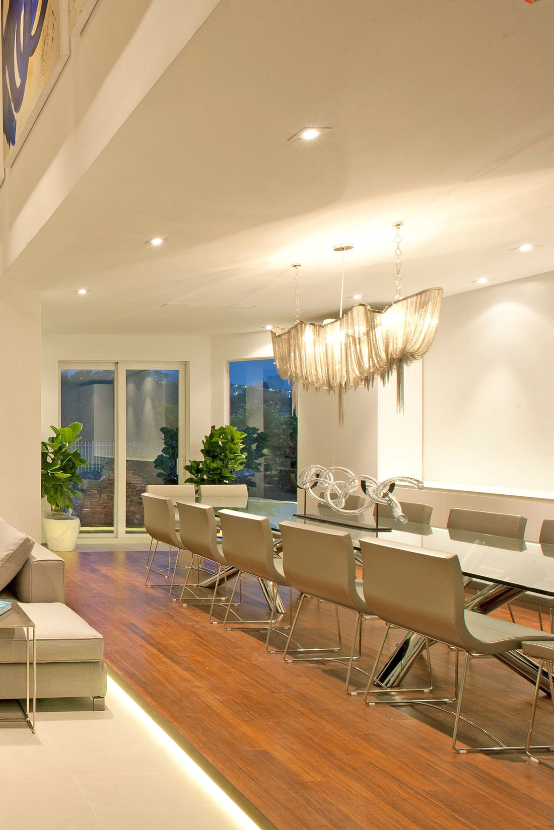 Glass Dining Table, Lighting, Stylish Interior Design in Miami, Florida