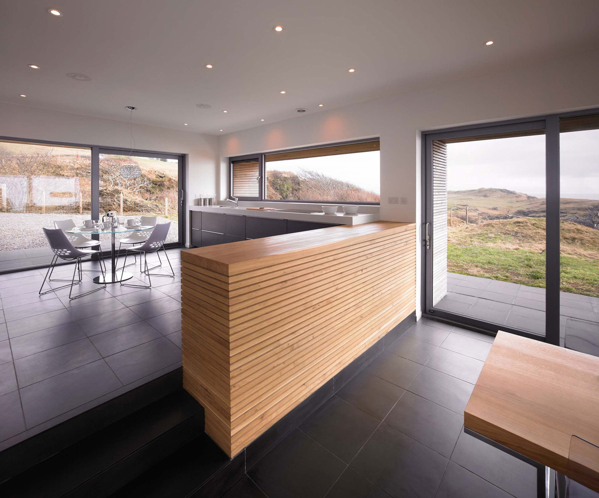 Glass Walls, Kitchen, Open Plan Living, Contemporary Home on the Isle of Skye, Scotland