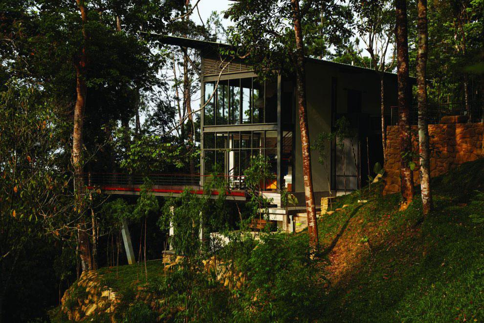 Glass Walls, Terrace, Modern Hillside Home in Janda Baik, Malaysia