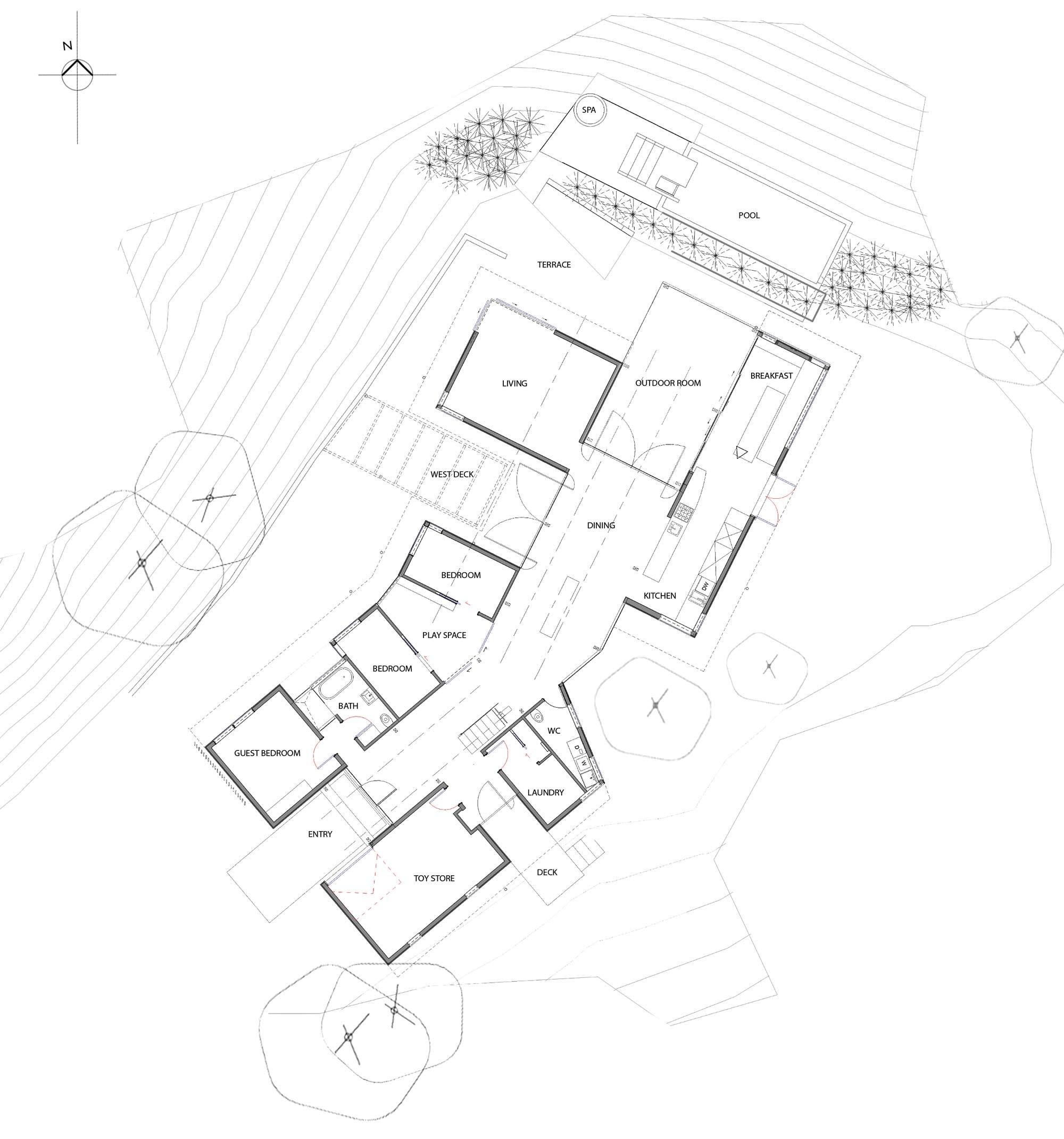 Ground Floor Plan, Hilltop Home with Stunning Views in Ngunguru, New Zealand