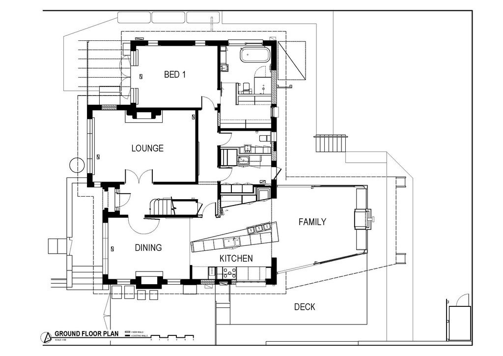 Ground Floor Plan, Modern Renovation & Extension in Melbourne, Australia